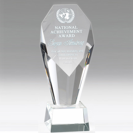 8-1/2 Inch Optical Crystal Faceted and Beveled Column Pillar Award
