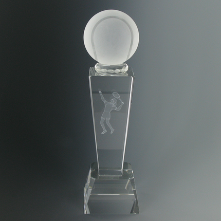 8-3/4 Inch Optical Crystal Cut Tennis Ball with Laser Engraved Male Tennis Player Award