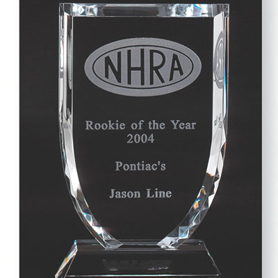 8 Inch Optical Cut Crystal Shaped Shield Award