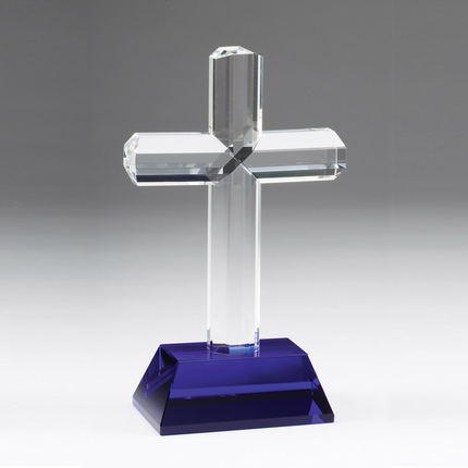 9-3/4 Inch Optical Crystal Religious Cross on Blue Base