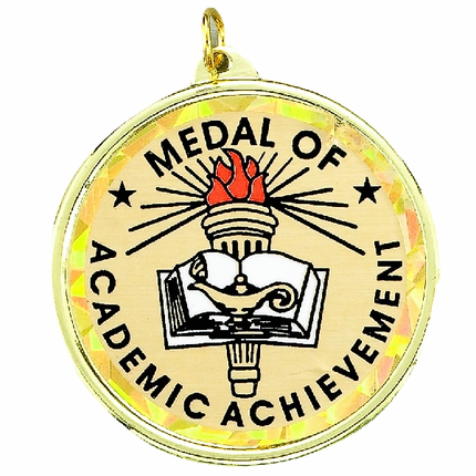 """2-1/4 Inch Medal Frame with 2 Inch """"Medal of Academic Achievement"""" Mylar Insert Label"""