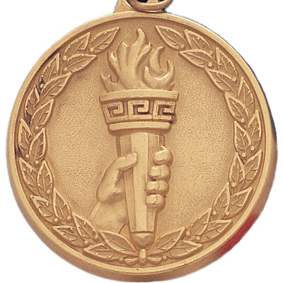 2 Inch High Relief with Wreath Border Torch in Hand Medal