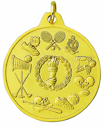 1-1/2 Inch Scalloped Border Sport Events Medal