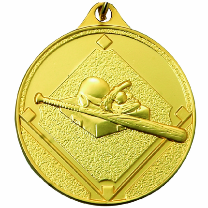 1-1/2 Inch Scalloped Border Baseball, Field, Bat Medal