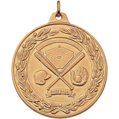 1-1/2 Inch Scalloped and Wreath Border Baseball, Helmet, Glove and Bats Medal