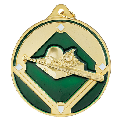 2-1/2 Inch High Relief Enameled Baseball/Softball Bat, Glove and Field Medal