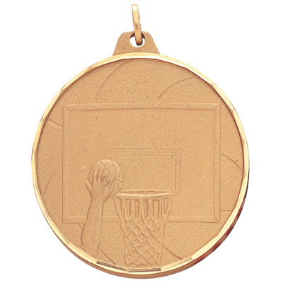 2 Inch Diamond Cut Border Basketball Put into Hoop Medal
