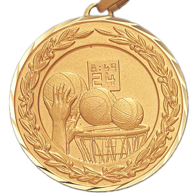 2 Inch Diamond Cut and Wreath Border Basketball Dunk Medal