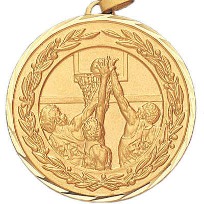 2 Inch Diamond Cut and Wreath Border Male Basketball Game Medal