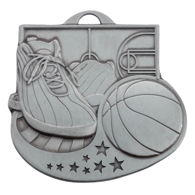 2 Inch Antiqued Die-Casted Basketball Medal
