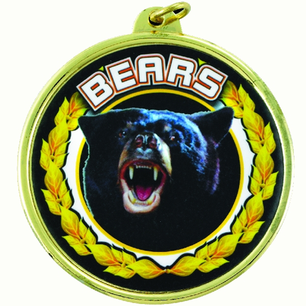 """2-1/4 Inch Mdeal Frame with 2 Inch """"Bears"""" Mascot Mylar Insert Label"""