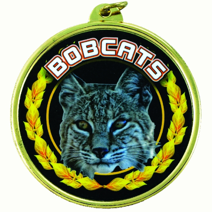 "2-1/4 Inch Medal Frame with 2 Inch ""Bobcats"" Mascot Mylar Insert Label"