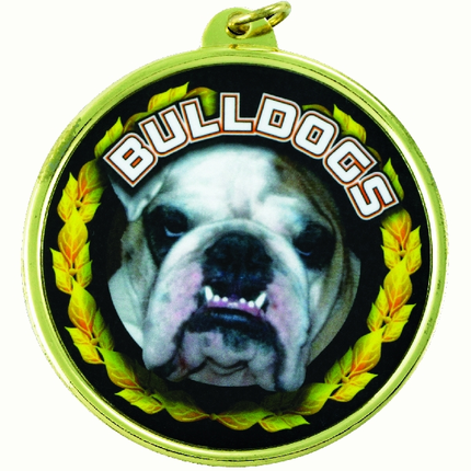 "2-1/4 Inch Medal Frame with 2 Inch ""Bulldogs"" Mascot Mylar Insert Label"