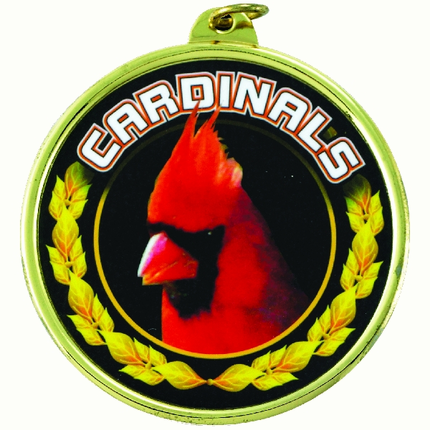 "2-1/4 Inch Medal Frame with 2 Inch ""Cardinals"" Mascot Mylar Insert Label"