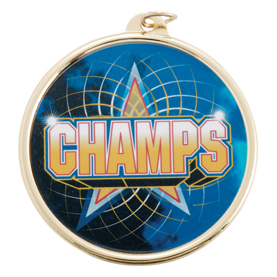 """2-1/4 Inch Medal Frame with 2 Inch """"Champs"""" with Star Mylar Insert Label"""