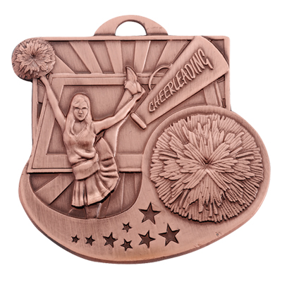2 Inch Antiqued  Die-Casted Cheerleader Medal