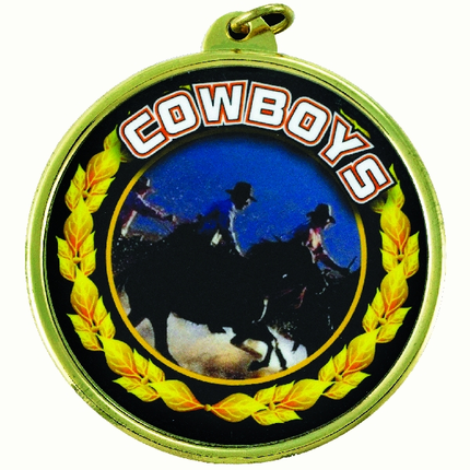 "2-1/4 Inch Medal Frame with 2 Inch ""Cowboys"" Mascot Mylar Insert Label"