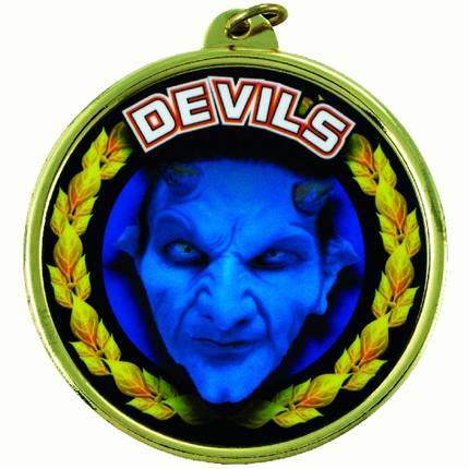 "2-1/4 Inch Medal Frame with 2 Inch ""Devils"" (Blue) Mascot Mylar Insert Label"