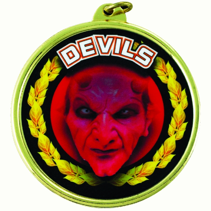 "2-1/4 Inch Medal Frame with 2 Inch ""Devils"" (Red) Mascot Mylar Insert Label"