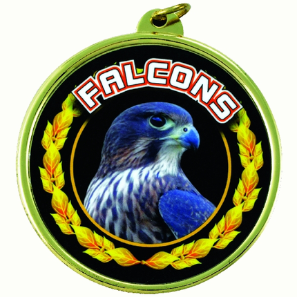 """2-1/4 Inch Medal Frame with 2 Inch """"Falcons""""  Mascot Mylar Insert Label"""