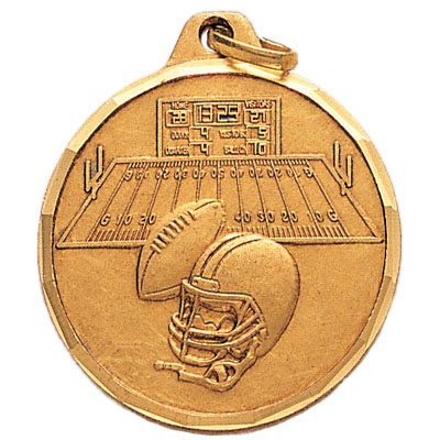 1-1/4 Inch Diamond Cut Border Football, Helmet, and Field Medal