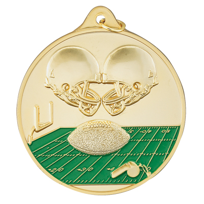 2-1/2 Inch High Relief Enameled Football, Helmets, and Field Medal