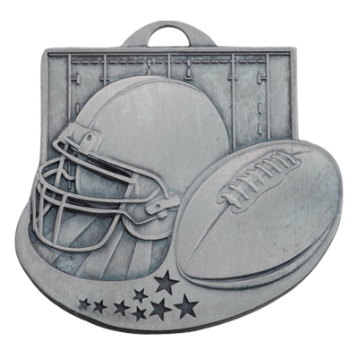 2 Inch Antiqued Die-Casted Football Medal