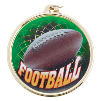 2-1/4 Inch Medal Frame with 2 Inch Football Mylar Insert Label