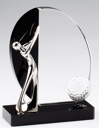 6 Inch Generic  Silver Golfer Mounted on Black and Clear Optical Crystal Award
