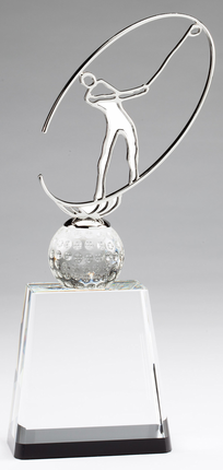 11 Inch Generic Modern Metal Golfer on Optical Crystal Base Award