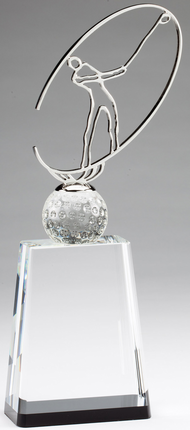 12 Inch Generic Modern Metal Golfer on Optical Crystal Base Award