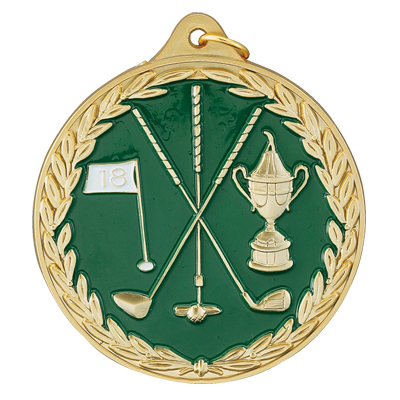 2-1/2 Inch High Relief Enameled with Wreath Border Golf Clubs, Flag, and Loving Cup Medal