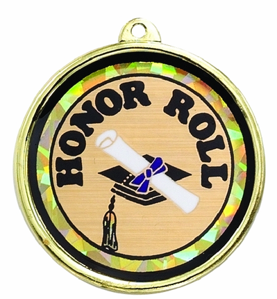"""2-1/4 Inch Medal Frame with 2 Inch """"Honor Roll"""" and Graduation Cap and Scroll Mylar Insert Label"""