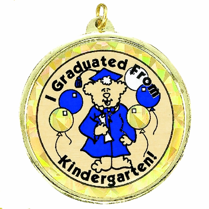 "2-1/4 Inch Medal Frame with 2 Inch ""I Graduated From Kindergarten"" Mylar Insert Label"