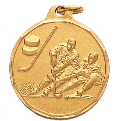 1-1/4 Inch Diamond Cut Border Male Ice Hockey Player Medal