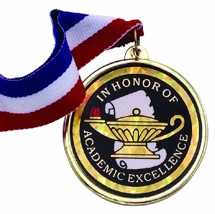 "2-1/4 Inch Medal Frame with 2 Inch ""In Honor of Academic Excellence"" with Lamp of Learning Mylar Insert Label"