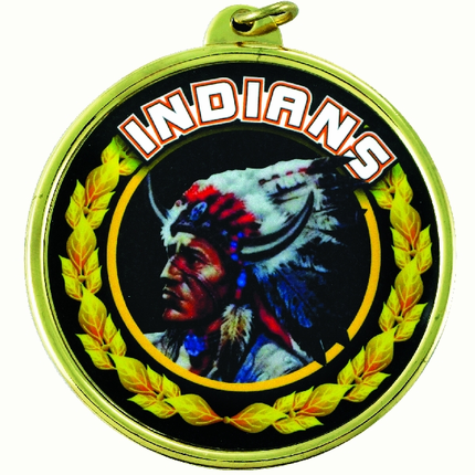 "2-1/4 Inch Medal Frame with 2 Inch ""Indians"" Mascot Mylar Insert Label"