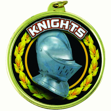 "2-1/4 Inch Medal Frame with 2 Inch ""Knights"" Mascot Mylar Insert Label"