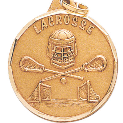 "1-1/4 Inch Diamond Cut Border ""Lacrosse"" with Helmet, Goal, and Sticks Medal"