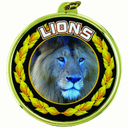 """2-1/4 Inch Medal Frame with 2 Inch """"Lions"""" Mascot Mylar Insert Label"""