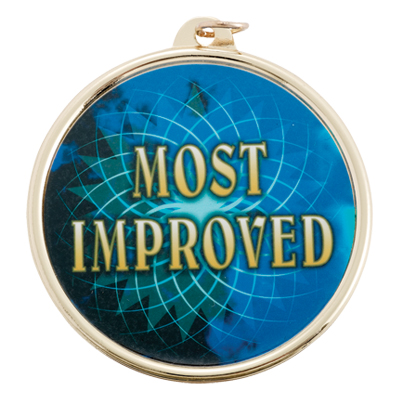 """2-1/4 Inch Medal Frame with 2 Inch """"Most Improved"""" with Star Mylar Insert Label"""