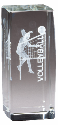 4-1/2 Inch Square Optical Crystal Female Volleyball Player Award