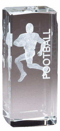 4-1/2 Inch Square Optical Crystal Male Football Player Award