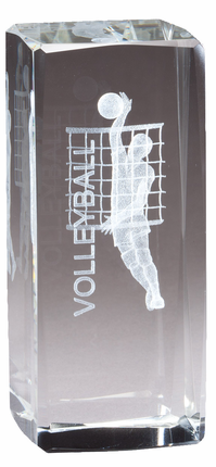 4-1/2 Inch Square Optical Crystal Male Volleyball Player Award