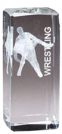 4-1/2 Inch Square Optical Crystal Male Wrestler Figures Award