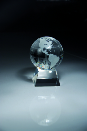 4-1/2 Inch Optical Crystal Globe on Base Award
