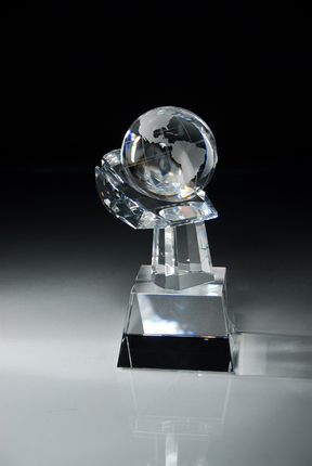 8-1/2 Inch Optical Crystal Globe in Hand Award