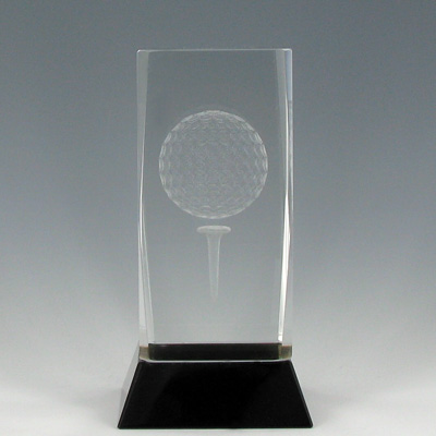 4-3/4 Inch Optical Crystal Laser Engraved Golf Ball on Tee Award