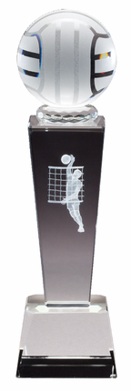 8-3/4 Inch Column Optical Crystal Volleyball and Male Player Award