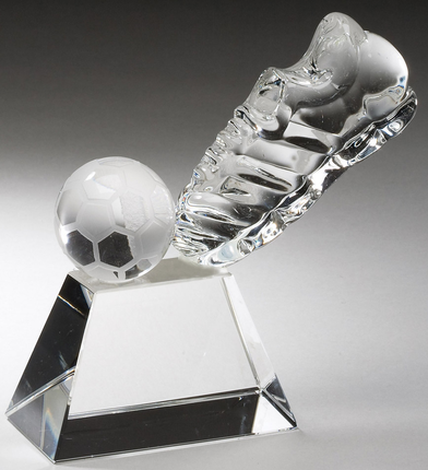 4 Inch Optrical Crystal Soccer Shoe and Ball on Base Award